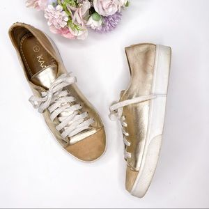 Kaanas Gold Metallic Leather Lace Up Sneakers